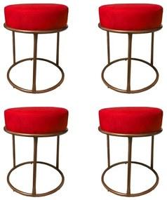 Kit 4 Puffs Decorativos Redondos Luxe Base de Aço Cobre Suede Vermelho - Sheep Estofados - Vermelho