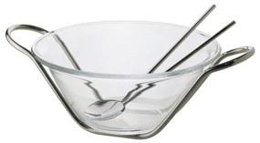 Saladeira Cristal Com Par De Talher E Suporte Inox Nápoles 30cm 85072 Wolff