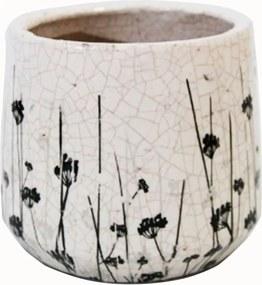 Cachepot Decorativo em Cerâmica com Flores Pretas - 24x16cm