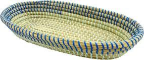 Bandeja Grande em Rattan com Detalhes Azul 7 cm x 42 cm x 24 cm