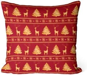 Almofada Love Decor Avulsa Decorativa Renas e Pinheiros Vermelhas
