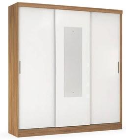 Guarda-Roupa Cecilia D01 3 Portas de Correr com Espelho Flex Amêndola Touch/Branco - ADJ DECOR