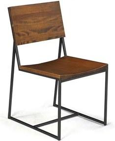 Cadeira Montreal em Madeira Maciça e Aço Rustic Brown