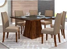 Mesa de Jantar Paris 140cm Rústico Malbec Preto + 6 Cadeiras Lucila Linho Bronze