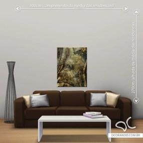 Quadro Abstrato Gold - Médio 86cm x 65cm, Tela Canvas