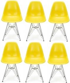 Conjunto 6 Cadeiras Eiffel Eames DSR Amarela