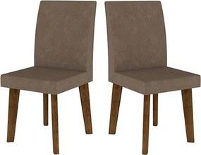 Kit com 2 Cadeiras Jade Pé Oblongo Pena Caramelo - RV Móveis