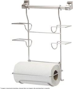 Kit Cozinha Suspensa Barra com Porta Rolos Cromado