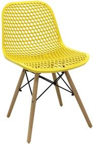 Cadeira Decorativa Sala e Cozinha Haney (PP) Amarela - Gran Belo