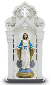 Capela 34 cm Com Imagem Nossa Senhora Das Medalhas Inquebrável