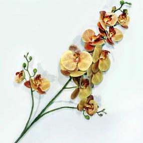 Orquídea Amarela Toque Real Artificial Galho Haste 120cm