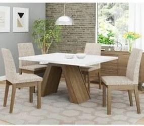 Conjunto Sala de Jantar Madesa Liz Mesa Tampo de Madeira com 4 Cadeiras Rustic/Branco/Fendi Cor:Rustic/Branco/Fendi