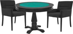 Mesa de Jogos Carteado Victoria Redonda Tampo Reversível Preto com 2 Cadeiras Vicenza Preto Fosco - Gran Belo