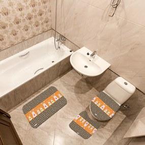 Jogo de Banheiro Páscoa Coelhos LaranjaÚnico