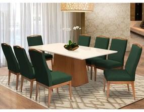 Conjunto Mesa Bianca Off White 2,08 m + 8 Cadeiras Lara Aveludado Verde