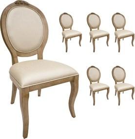 Jogo 6 Cadeiras Medalhão Lille - Avelã - Tecido Facto Pérola Clássico Kleiner Schein