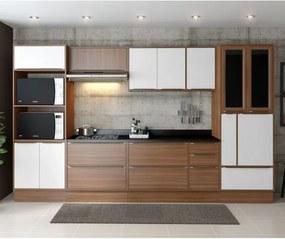 Cozinha Compacta Calábria Aéreos, Paneleiro e Balcões - Nogueira/ Branco