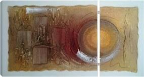 Quadro Atelier Valverde Artesanal 60X113 Duplo Abstrato Marrom