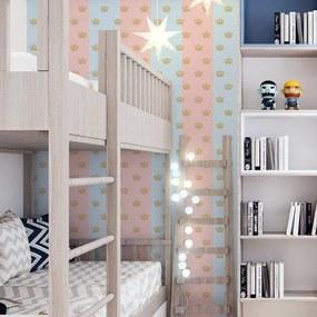Adesivo de parede poá faixa azul e rosa com coroa marrom
