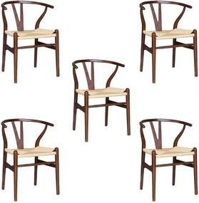 Kit 5 Cadeiras Decorativas Sala de Jantar e Cozinha Bella Madeira Bétula Tabaco - Gran Belo