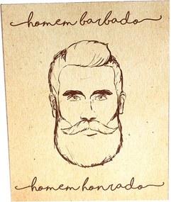 Placa Decorativa Prolab Gift Homem Barbado Bege