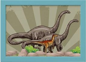 Quadro Infantil Dinossauro Verde Moldura Azul 22x32