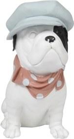 escultura cachorro BULLDOG resina branca 17cm Ilunato QC0447