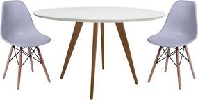 Conjunto Mesa Square Redonda Branco Fosco 80cm + 2 Cadeiras Eiffel Cinza