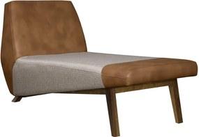 Chaise Decorativa Sala de Estar Foshan Pvc Marrom/Linho Cinza - Gran Belo
