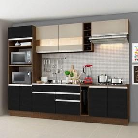 Cozinha Completa Madesa Vicenza com Armário e Balcão (Sem Tampo e Pia) Rustic/Preto/Crema Cor:Rustic/Preto/Crema