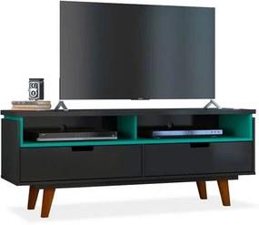 Rack para TV até 40 Polegadas, com 2 gavetas e 2 nichos,Preto com Turquesa,Milly