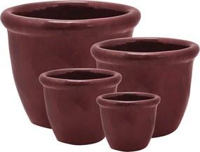 Jogo de Cachepot em Cerâmica Vermelho - 4un