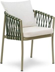 Cadeira Pisana em Alumínio C/Braços em Corda Náutica