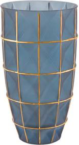 Vaso Azul E Dourado Em Vidro