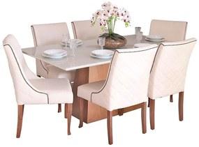 Conjunto Sala de Jantar Mesa Bonnie com 6 Cadeiras Piper - Wood Prime 38717