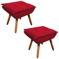 Kit 2 Puffs Decorativos Sala de Estar Pés Palito Opla Suede Vermelho -
