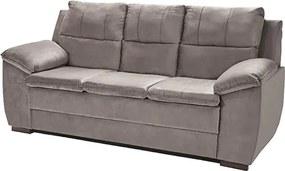 Sofá Com Fibra No Encosto Apogeu 3 Lugares Tecido Suede Cinza - Umaflex