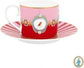 Xícara de Chá Medallion Rosa e Vermelho Love Birds Pip Studio