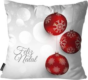 Capa para Almofada Mdecor De Natal Feliz Cinza