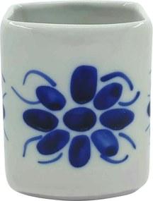 Porta Cotonete em Porcelana Azul Colonial