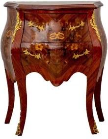 Cômoda Bombê Luis XV 02 Gavetas Marchetada Esculpidas Verniz Intenso