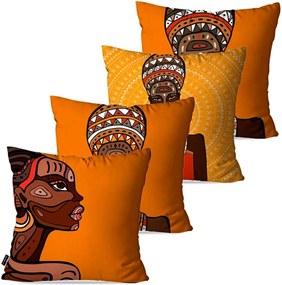 Kit com 4 Almofadas Pump UP Decorativas Laranja Africanas 45x45cm