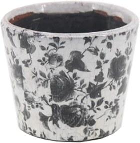 Cachepot em Cerâmica c/ Desenho de Flores Preto Modelo 01