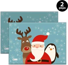 Jogo Americano Mdecore Natal Papai Noel 40x28 cm Azul2pçs