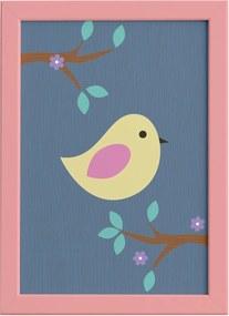 Quadro Infantil Pássaro Moldura Rosa 22x32cm