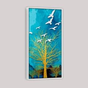 Quadro 50x100cm Abstrato Árvore Seca Dourada com Pássaros Canvas Moldura Flutuante/Filete Branca