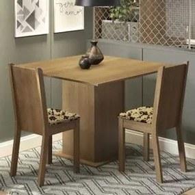 Conjunto Sala de Jantar Madesa Isa Mesa Tampo de Madeira com 2 Cadeiras Rustic/Bege Marrom Cor:Rustic/Bege Marrom