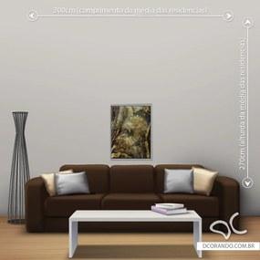 Quadro Abstrato Gold - Pequeno 65cm x 49cm, Tela + Moldura Prata