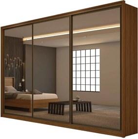 Guarda Roupa Casal com Espelho 3 Portas 6 Gavetas Spazio Super Glass Marrom