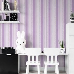 Adesivo de parede Listrado Lilás com Floral